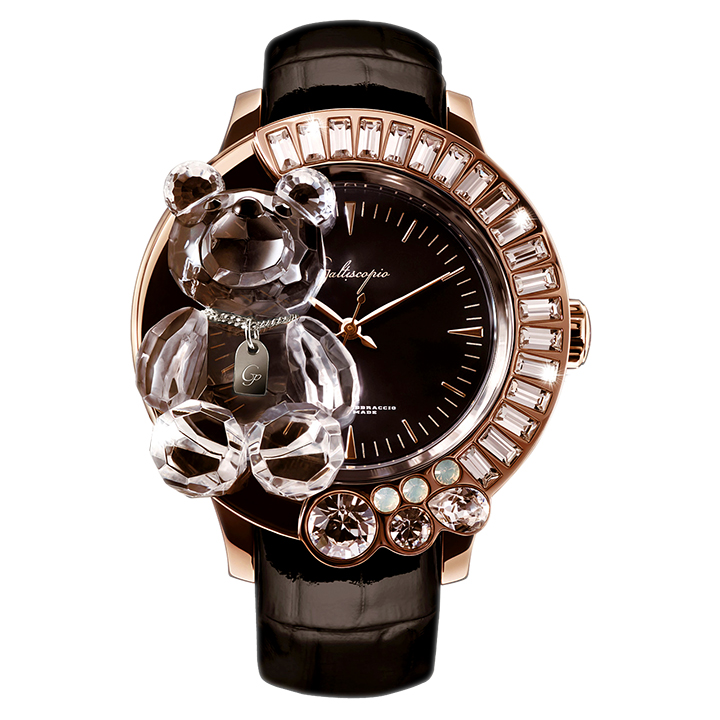 スワロフスキーのキラキラ腕時計 Galtiscopio(ガルティスコピオ) DARMI UN ABBRACCIO 熊17 ローズゴールド ブラック レザーベルト