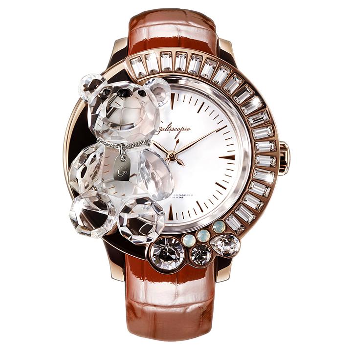 スワロフスキーのキラキラ腕時計 Galtiscopio(ガルティスコピオ) DARMI UN ABBRACCIO 熊18 ローズゴールド ブラウン レザーベルト