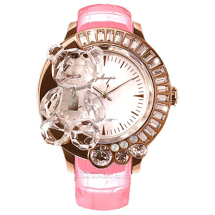 スワロフスキーのキラキラ腕時計 Galtiscopio(ガルティスコピオ) DARMI UN ABBRACCIO 熊19 ローズゴールド ピンク レザーベルト