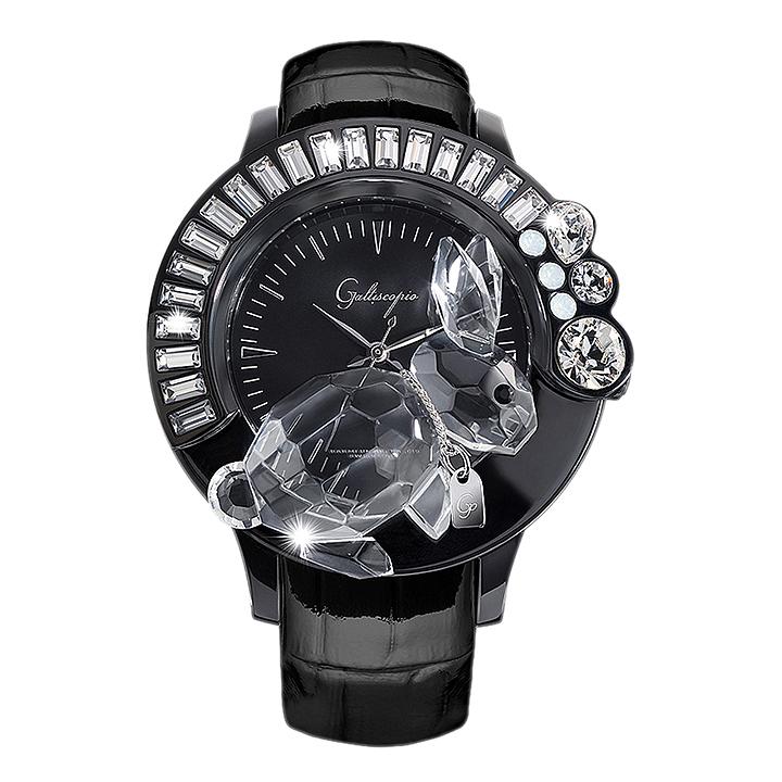スワロフスキーのキラキラ腕時計 Galtiscopio(ガルティスコピオ) DARMI UN ABBRACCIO 兎1 ブラック レザーベルト