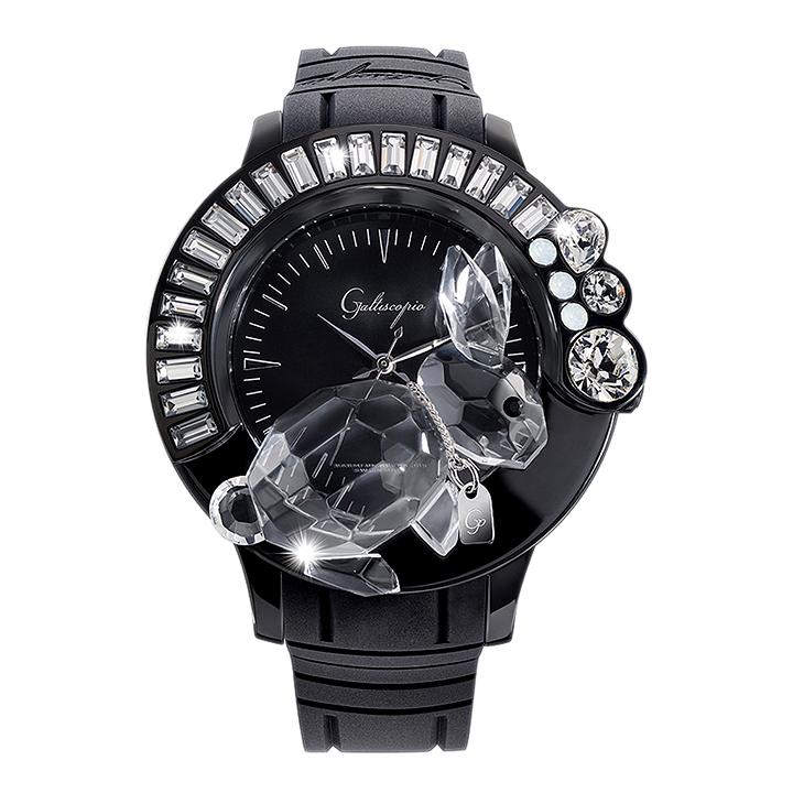 スワロフスキーのキラキラ腕時計 Galtiscopio(ガルティスコピオ) DARMI UN ABBRACCIO 兎2 ブラック ラバーベルト