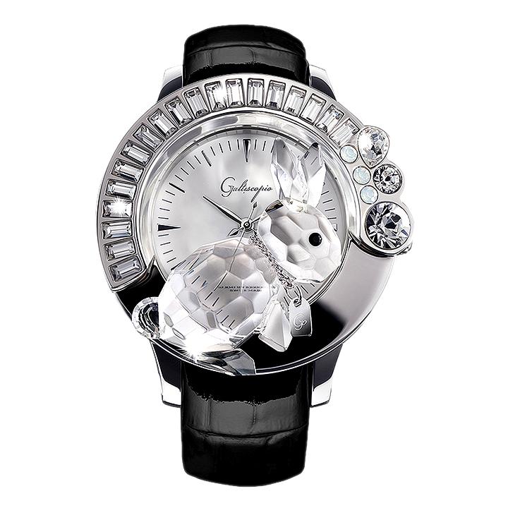 スワロフスキーのキラキラ腕時計 Galtiscopio(ガルティスコピオ) DARMI UN ABBRACCIO 兎3 ブラック レザーベルト