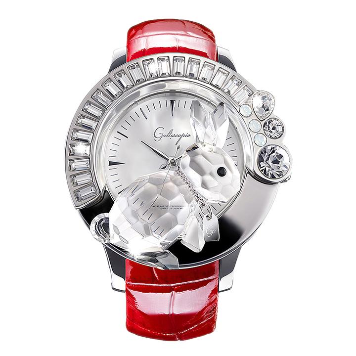 スワロフスキーのキラキラ腕時計 Galtiscopio(ガルティスコピオ) DARMI UN ABBRACCIO 兎5 レッド レザーベルト