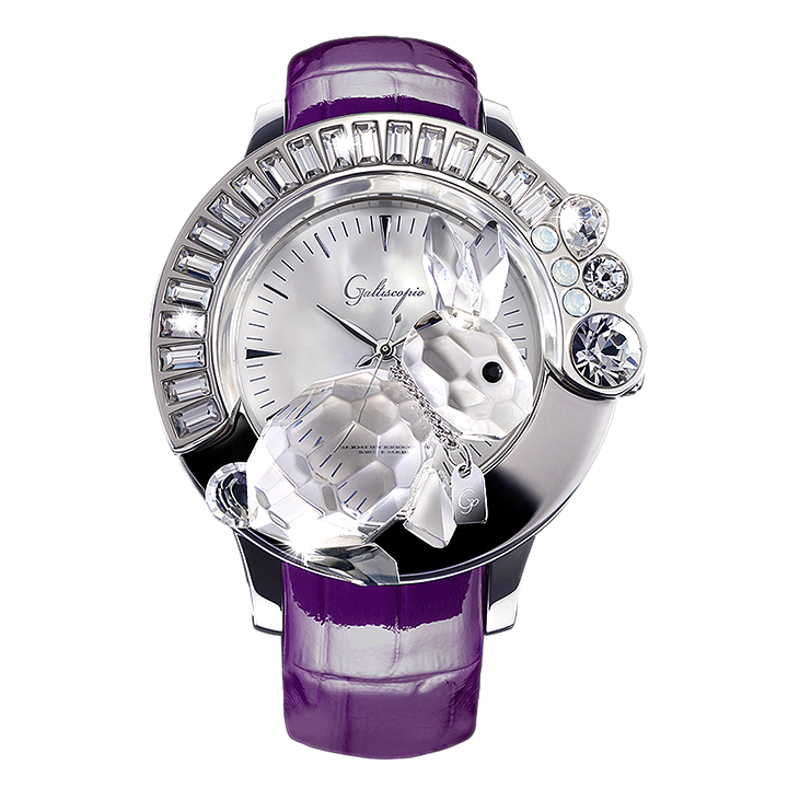 スワロフスキーのキラキラ腕時計 Galtiscopio(ガルティスコピオ) DARMI UN ABBRACCIO 兎6 パープル レザーベルト