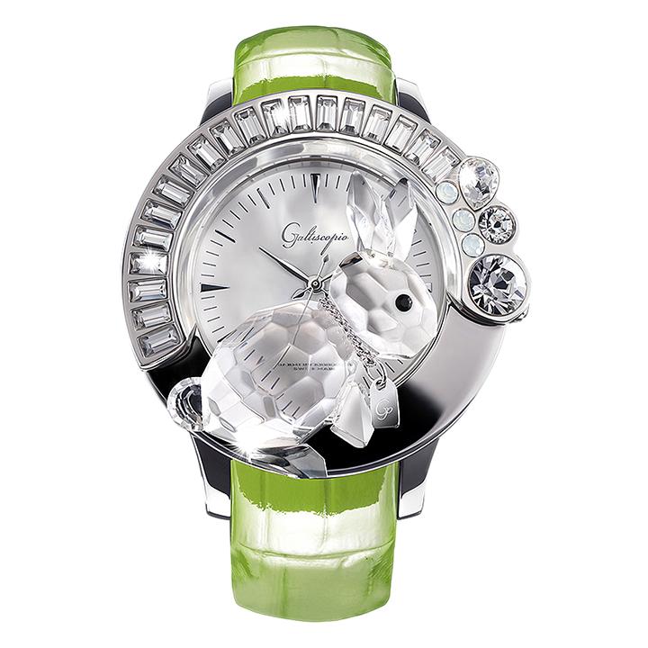 スワロフスキーのキラキラ腕時計 Galtiscopio(ガルティスコピオ) DARMI UN ABBRACCIO 兎7 グリーン レザーベルト