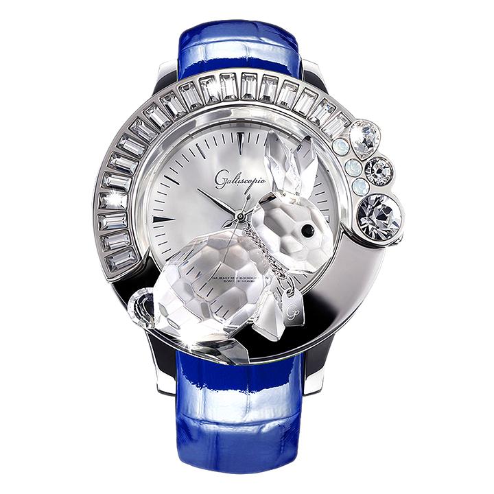 スワロフスキーのキラキラ腕時計 Galtiscopio(ガルティスコピオ)DARMI UN ABBRACCIO 兎8 ブルー レザーベルト
