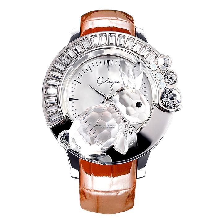 スワロフスキーのキラキラ腕時計 Galtiscopio(ガルティスコピオ) DARMI UN ABBRACCIO 兎9 ブラウン レザーベルト