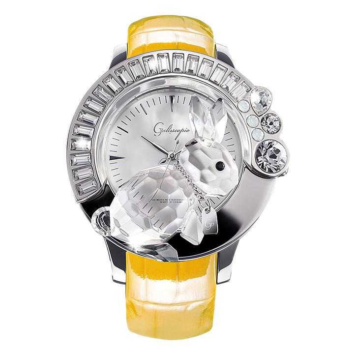 スワロフスキーのキラキラ腕時計 Galtiscopio(ガルティスコピオ) DARMI UN ABBRACCIO 兎10 イエロー レザーベルト