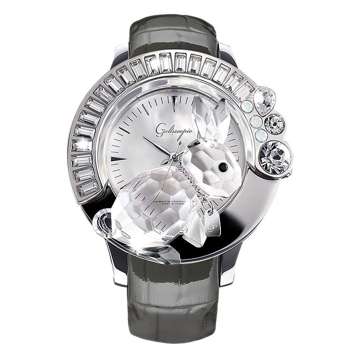 スワロフスキーのキラキラ腕時計 Galtiscopio(ガルティスコピオ) DARMI UN ABBRACCIO 兎11 グレー レザーベルト