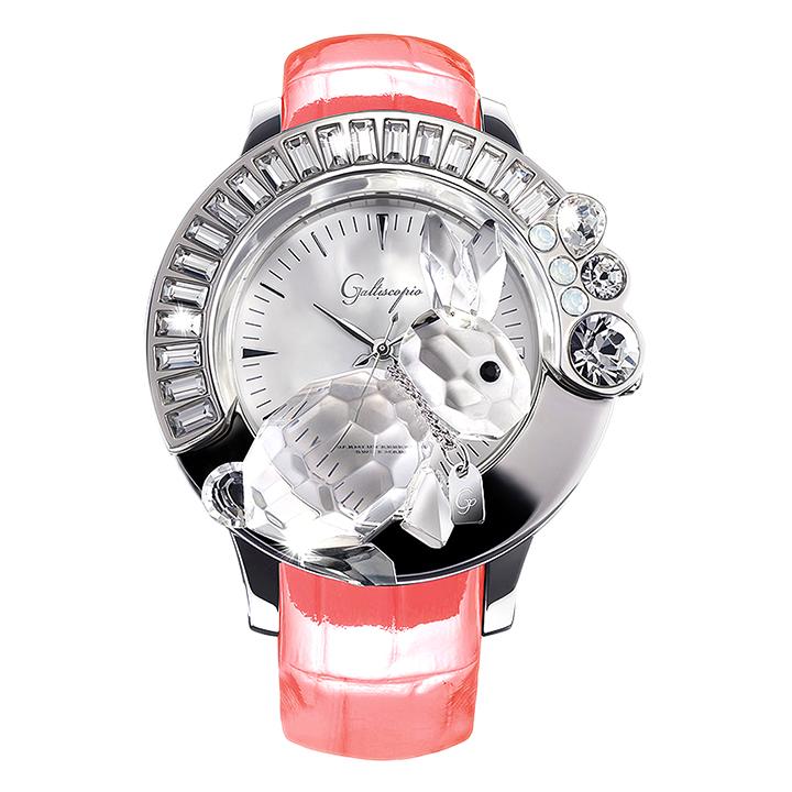スワロフスキーのキラキラ腕時計 Galtiscopio(ガルティスコピオ) DARMI UN ABBRACCIO 兎12 ピンク レザーベルト