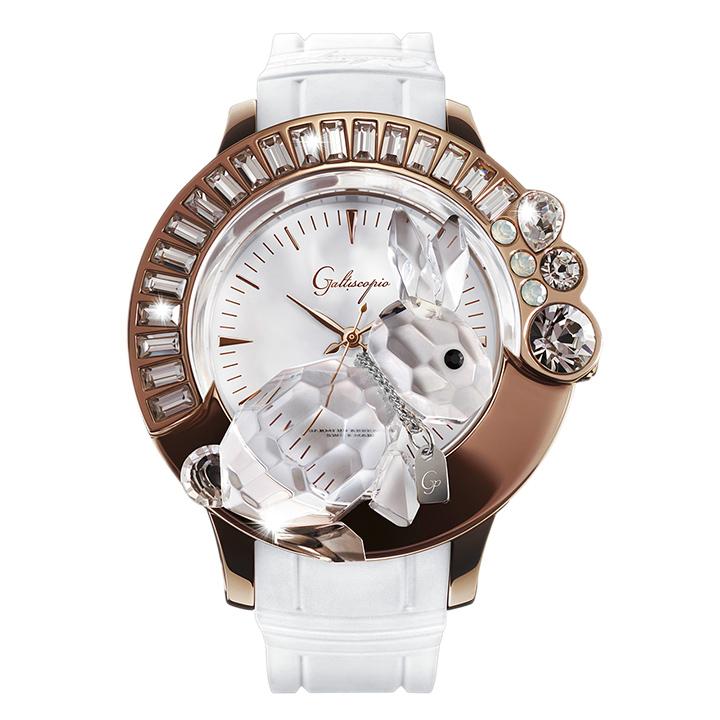 スワロフスキーのキラキラ腕時計 Galtiscopio(ガルティスコピオ) DARMI UN ABBRACCIO 兎14 ローズゴールド ホワイト ラバーベルト
