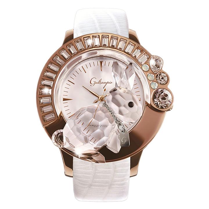 スワロフスキーのキラキラ腕時計 Galtiscopio(ガルティスコピオ) DARMI UN ABBRACCIO 兎15 ローズゴールド ホワイト レザーベルト