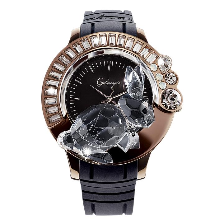 スワロフスキーのキラキラ腕時計 Galtiscopio(ガルティスコピオ) DARMI UN ABBRACCIO 兎16 ローズゴールド ブラック ラバーベルト