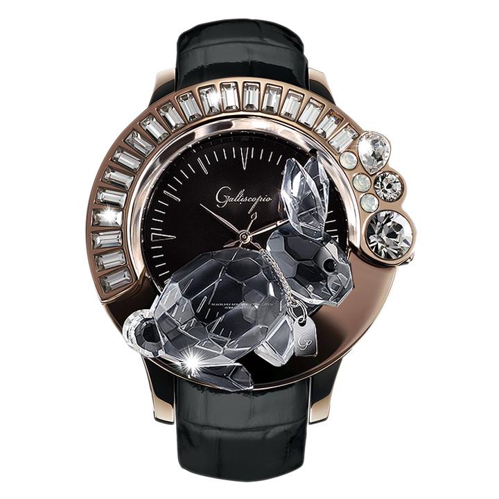 スワロフスキーのキラキラ腕時計 Galtiscopio(ガルティスコピオ) DARMI UN ABBRACCIO 兎17 ローズゴールド ブラック レザーベルト
