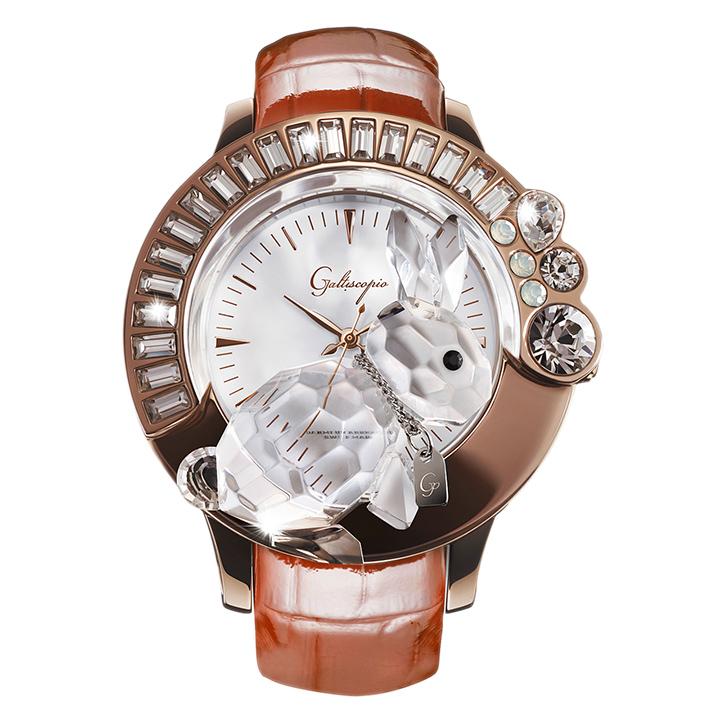 スワロフスキーのキラキラ腕時計 Galtiscopio(ガルティスコピオ) DARMI UN ABBRACCIO 兎18 ローズゴールド ブラウン レザーベルト
