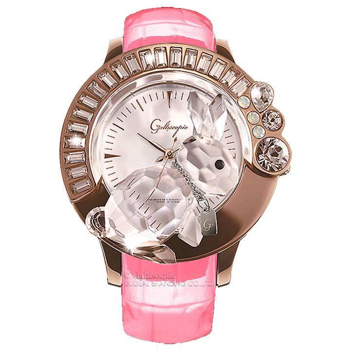 スワロフスキーのキラキラ腕時計 Galtiscopio(ガルティスコピオ) DARMI UN ABBRACCIO 兎19 ローズゴールド ピンク レザーベルト
