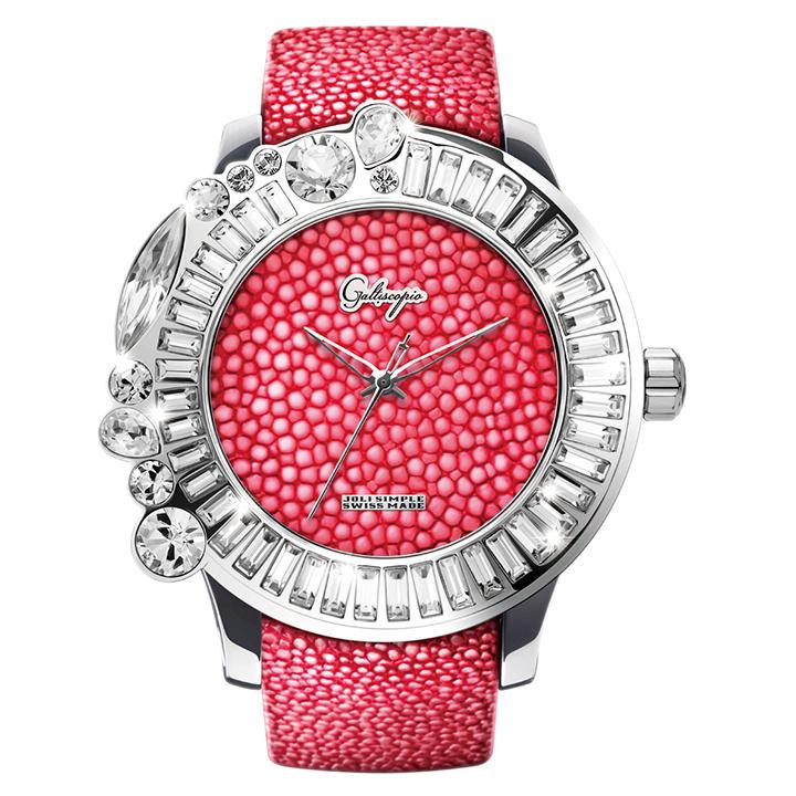 ガルーシャとスワロフスキーの腕時計 Galtiscopio(ガルティスコピオ) JOLI SIMPLE JS1 ピンク ガルーシャベルト