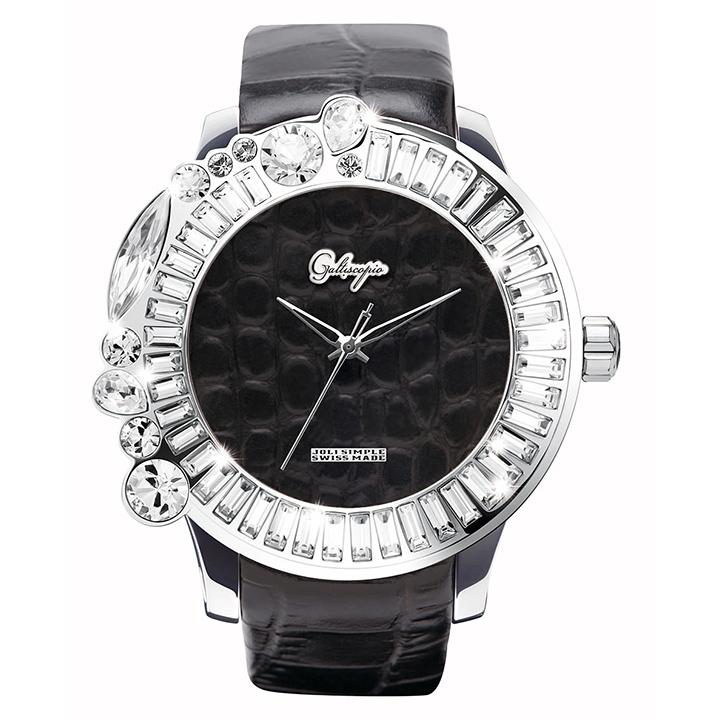 スワロフスキーのカラフルな腕時計 Galtiscopio(ガルティスコピオ) JOLI SIMPLE JS4 ブラック(黒) レザーベルト