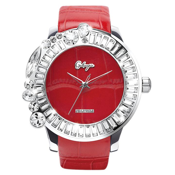 スワロフスキーのカラフルな腕時計 Galtiscopio(ガルティスコピオ) JOLI SIMPLE JS5 レッド(赤) レザーベルト
