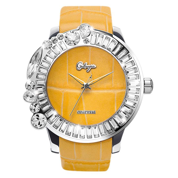 スワロフスキーのカラフルな腕時計 Galtiscopio(ガルティスコピオ) JOLI SIMPLE JS6 イエロー(黄) レザーベルト