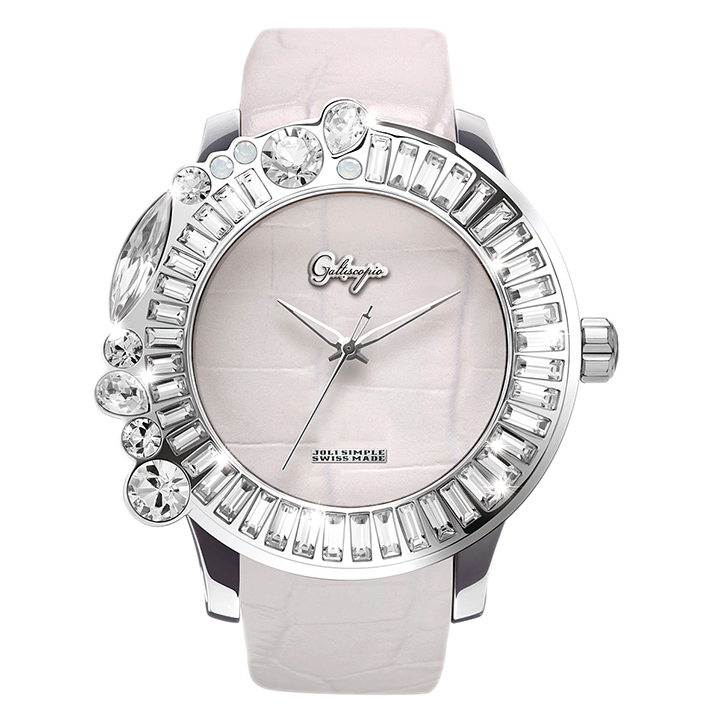 スワロフスキーのカラフルな腕時計 Galtiscopio(ガルティスコピオ) JOLI SIMPLE JS8 ホワイト(白) レザーベルト