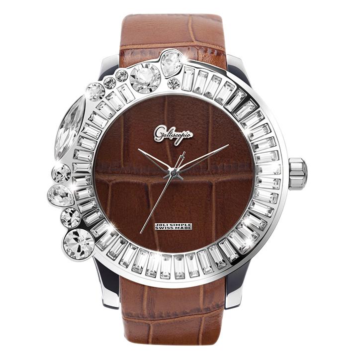 スワロフスキーのカラフルな腕時計 Galtiscopio(ガルティスコピオ) JOLI SIMPLE JS9 ブラウン(茶) レザーベルト