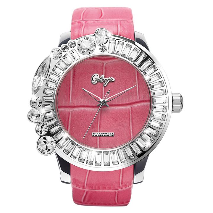 スワロフスキーのカラフルな腕時計 Galtiscopio(ガルティスコピオ) JOLI SIMPLE JS10 ピンク レザーベルト