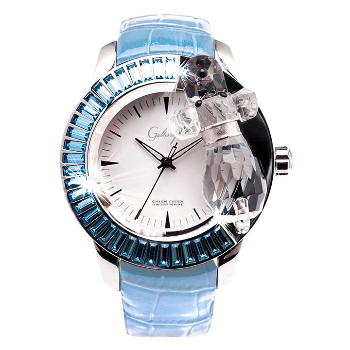 スワロフスキーのキラキラ腕時計 Galtiscopio(ガルティスコピオ) CHIEN CHIEN 犬1 ライトブルー レザーベルト