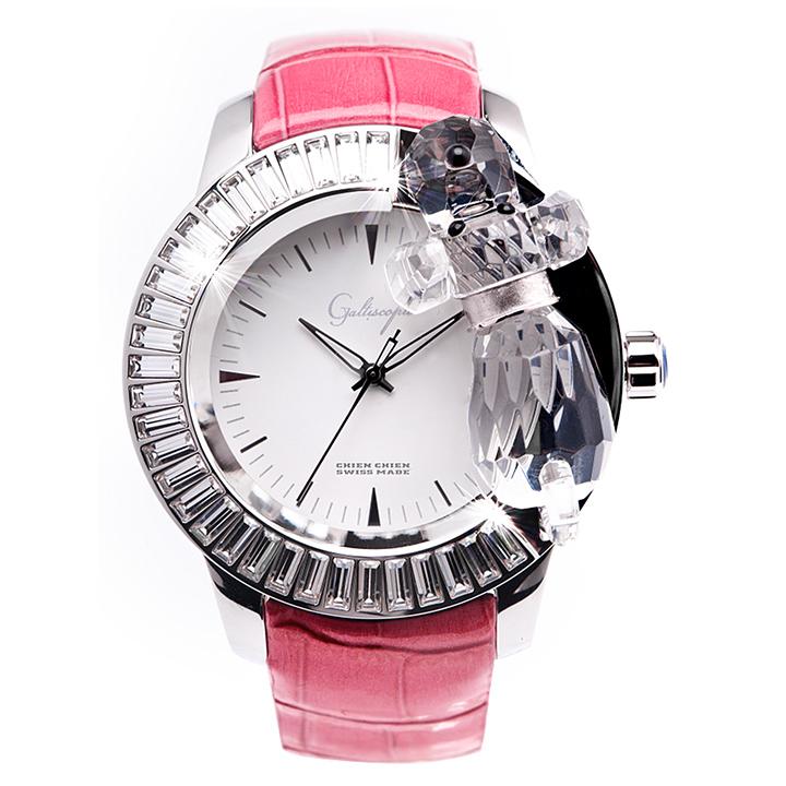 スワロフスキーのキラキラ腕時計 Galtiscopio(ガルティスコピオ) CHIEN CHIEN 犬2 ピンク レザーベルト