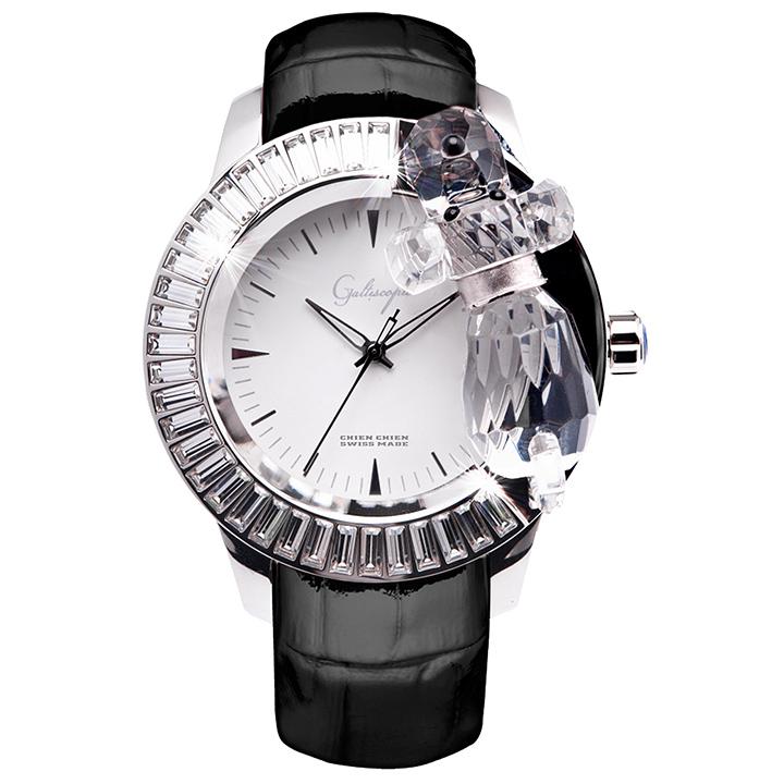 スワロフスキーのキラキラ腕時計 Galtiscopio(ガルティスコピオ) CHIEN CHIEN 犬3 ブラック レザーベルト