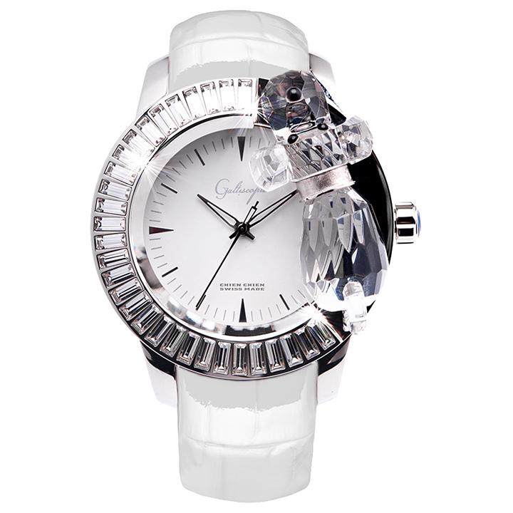 スワロフスキーのキラキラ腕時計 Galtiscopio(ガルティスコピオ) CHIEN CHIEN 犬4 ホワイト レザーベルト