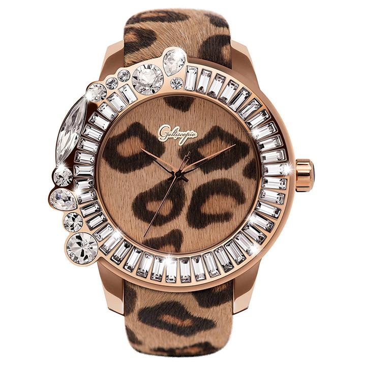 レオパード柄ハラコのキラキラ腕時計 Galtiscopio(ガルティスコピオ) LEOPARD 豹1 ヒョウ柄(ブラウン系)ハラコベルト
