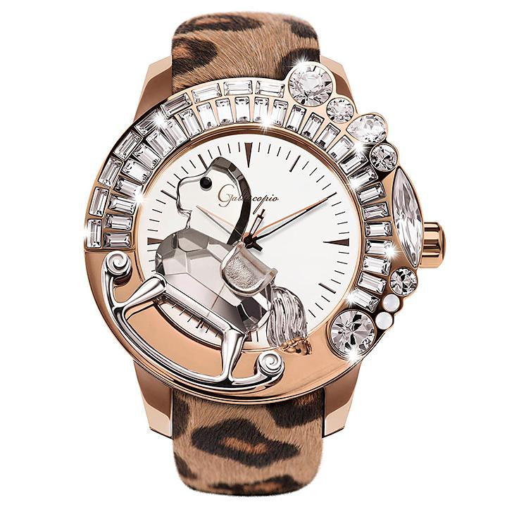 レオパード柄ハラコのキラキラ腕時計 Galtiscopio(ガルティスコピオ) LEOPARD 豹2 ヒョウ柄(ブラウン系)ハラコベルト