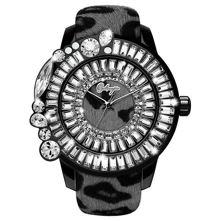レオパード柄ハラコのキラキラ腕時計 Galtiscopio(ガルティスコピオ) LEOPARD 豹3 ヒョウ柄(グレー系)ハラコベルト