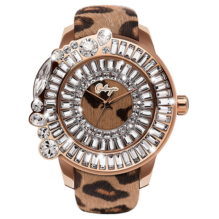 レオパード柄ハラコのキラキラ腕時計 Galtiscopio(ガルティスコピオ) LEOPARD 豹4 ヒョウ柄(ブラウン系)ハラコベルト