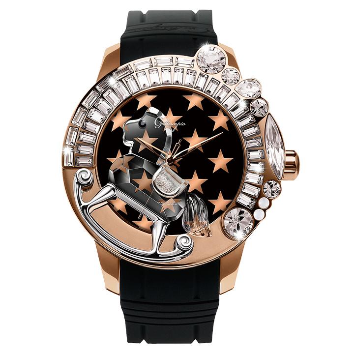 スワロフスキーのキラキラ腕時計 Galtiscopio(ガルティスコピオ) STAR 星1 ローズゴールド ブラック ラバーベルト