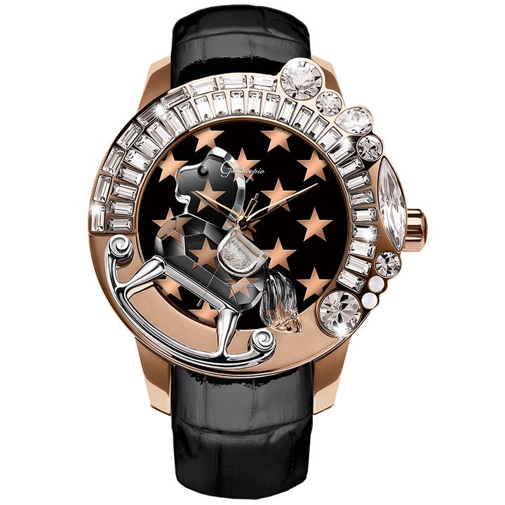 スワロフスキーのキラキラ腕時計 Galtiscopio(ガルティスコピオ) STAR 星2 ローズゴールド ブラック レザーベルト