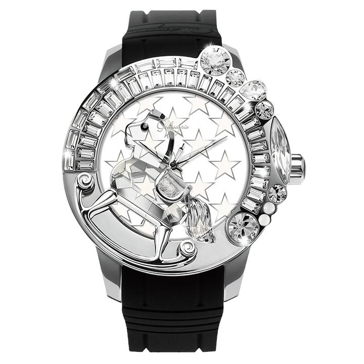 スワロフスキーのキラキラ腕時計 Galtiscopio(ガルティスコピオ) STAR 星3 ブラック ラバーベルト