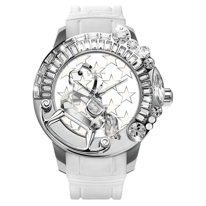 スワロフスキーのキラキラ腕時計 Galtiscopio(ガルティスコピオ) STAR 星4 ホワイト ラバーベルト