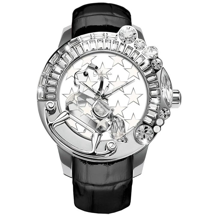 スワロフスキーのキラキラ腕時計 Galtiscopio(ガルティスコピオ) STAR 星5 ブラック レザーベルト