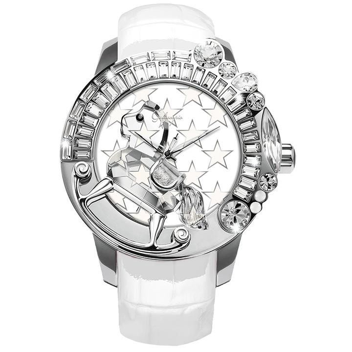 スワロフスキーのキラキラ腕時計 Galtiscopio(ガルティスコピオ) STAR 星6 ホワイト レザーベルト
