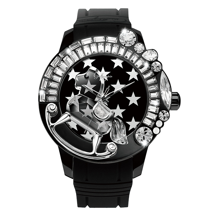 スワロフスキーのキラキラ腕時計 Galtiscopio(ガルティスコピオ) STAR 星7 ブラック ラバーベルト