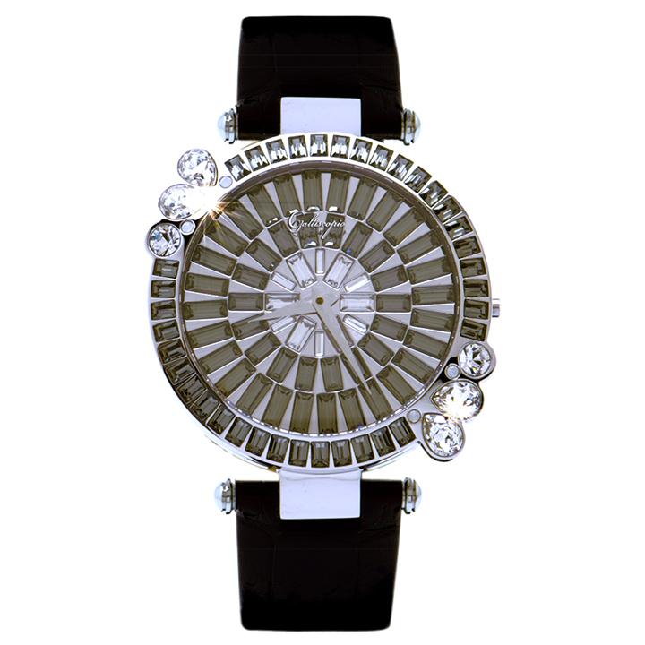 スワロフスキーのモザイクウォッチ Galtiscopio(ガルティスコピオ) MARGUERITE 花6 ブラック レザーベルト