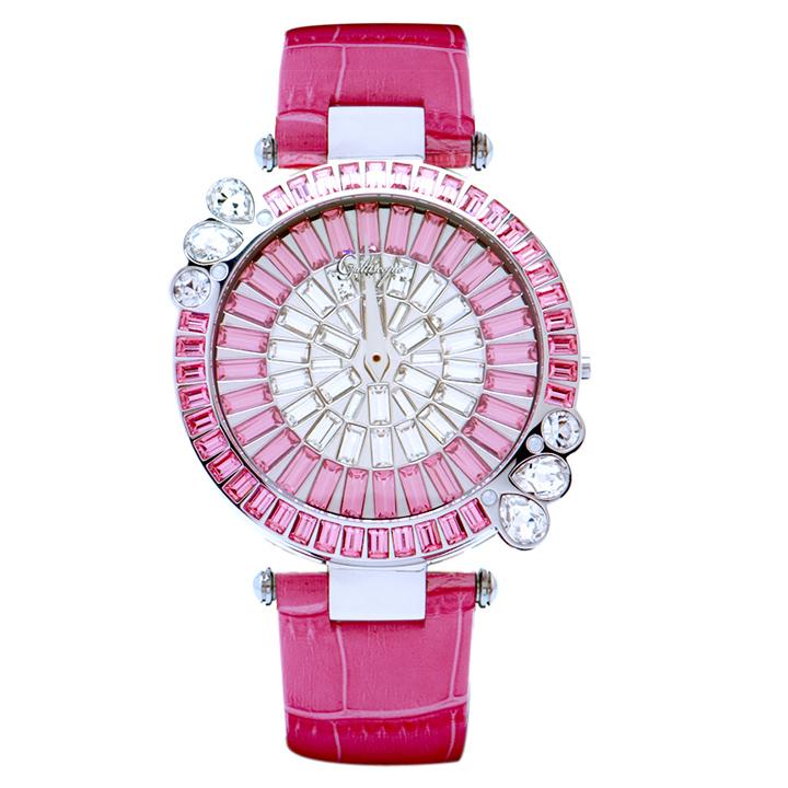 スワロフスキーのモザイクウォッチ Galtiscopio(ガルティスコピオ) MARGUERITE 花7 ピンク レザーベルト