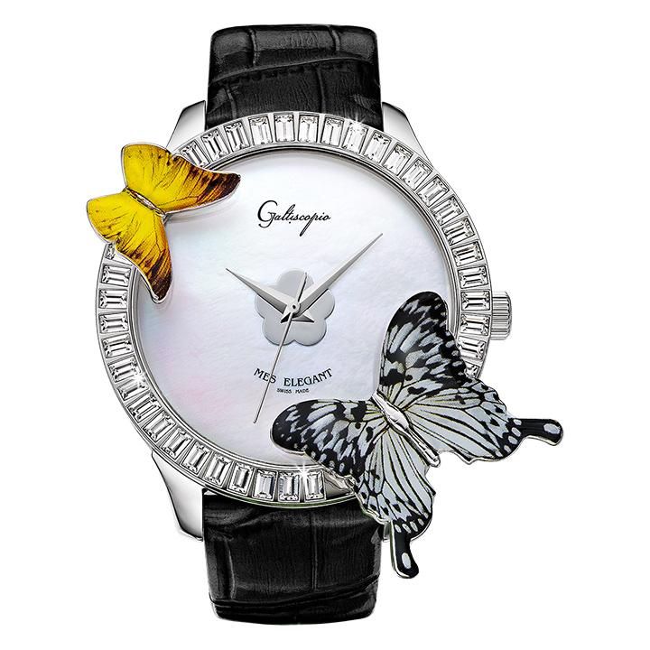 蝶とスワロフスキーの腕時計 Galtiscopio(ガルティスコピオ) MES ELEGANT 蝶1 ブラック レザーベルト アゲハ蝶