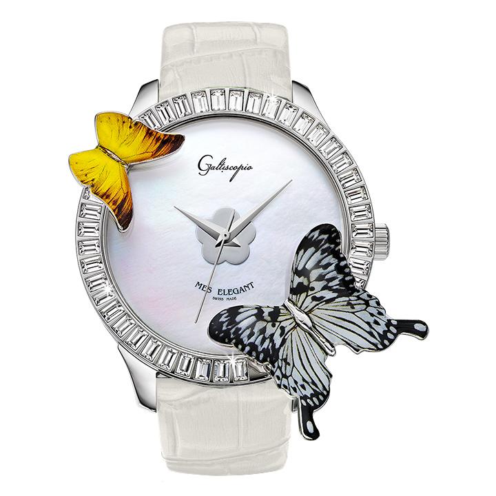 蝶とスワロフスキーの腕時計 Galtiscopio(ガルティスコピオ) MES ELEGANT 蝶2 ホワイト レザーベルト アゲハ蝶