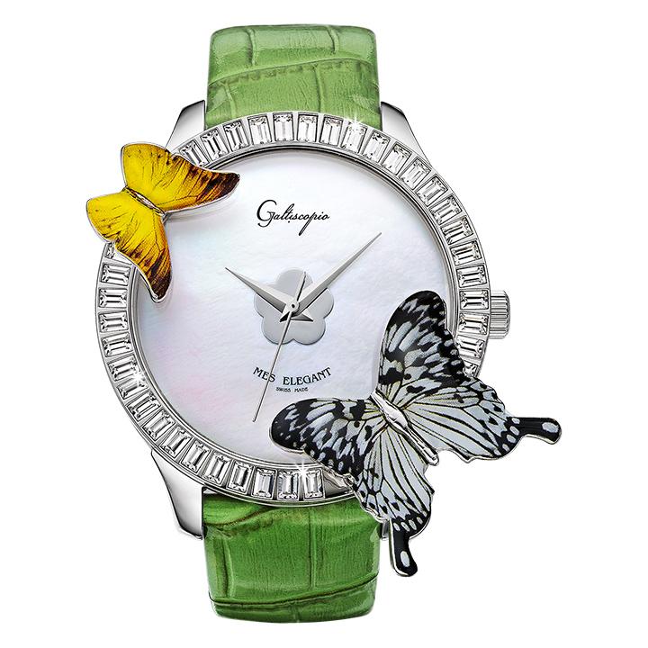 蝶とスワロフスキーの腕時計 Galtiscopio(ガルティスコピオ) MES ELEGANT 蝶3 グリーン レザーベルト アゲハ蝶