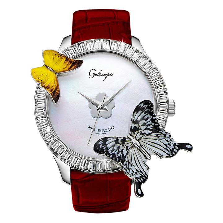 蝶とスワロフスキーの腕時計 Galtiscopio(ガルティスコピオ) MES ELEGANT 蝶4 ダークレッド レザーベルト アゲハ蝶