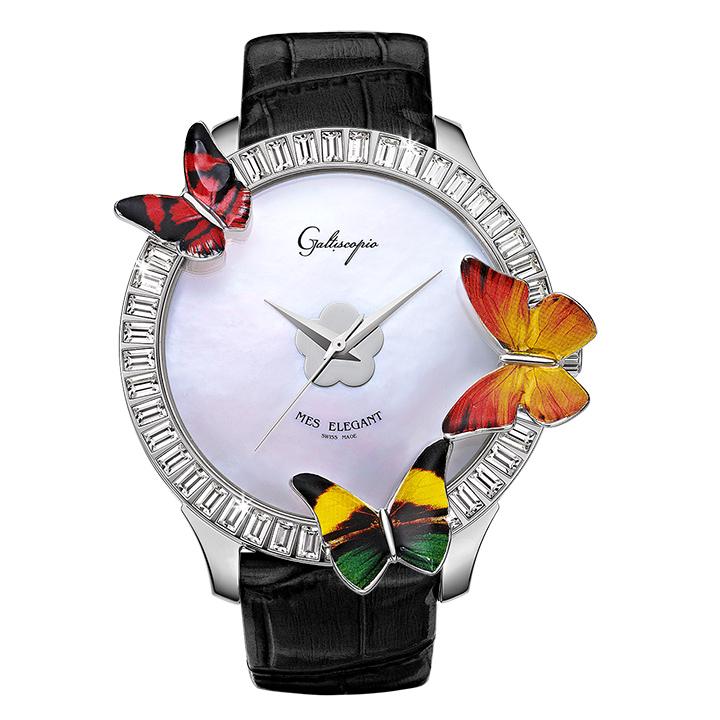 蝶とスワロフスキーの腕時計 Galtiscopio(ガルティスコピオ) MES ELEGANT 蝶5 ブラック レザーベルト