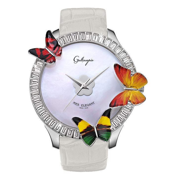 蝶とスワロフスキーの腕時計 Galtiscopio(ガルティスコピオ) MES ELEGANT 蝶6 ホワイト レザーベルト